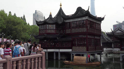Traditional Old Tea House In Shanghai China With Tourists Visiting Footage
