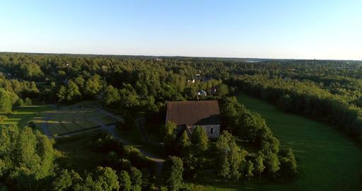 Medieval church, Cinema 4k aerial view over pyhan katarinan kirkko church, on a Live Action