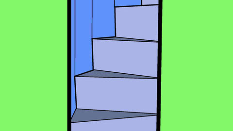 Manga escalator winding stairs Animation