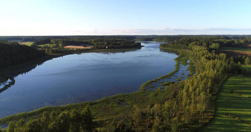Mustionjoki, Cinema 4k aerial view over svarta river, at a evening dawn, just Footage