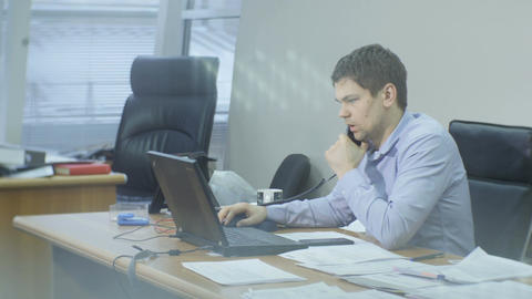 Side View Professional Manager Talks with Client on Phone Live Action