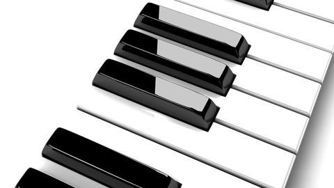 Piano Keyboard On White Background, Stock Animation