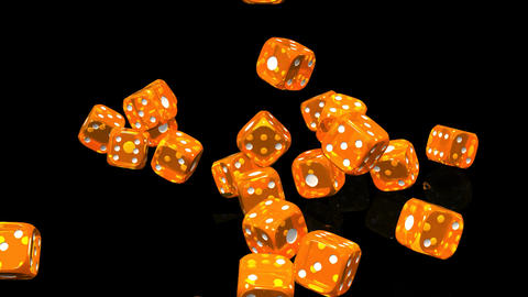 Orange Dice On Black Background, Stock Animation