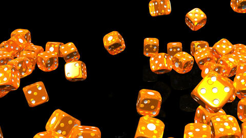 Orange Dice On Black Background Stock Video Footage