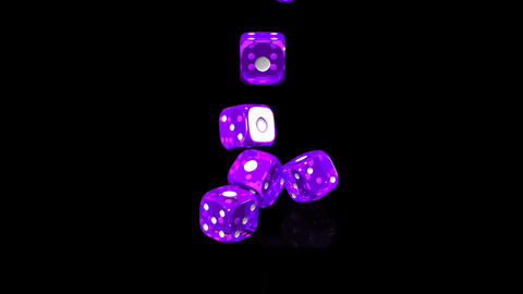 Purple Dice On Black Background Stock Video Footage