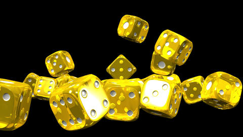 Yellow Dice On Black Background CG動画
