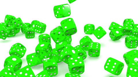Green Dice On White Background, Stock Animation