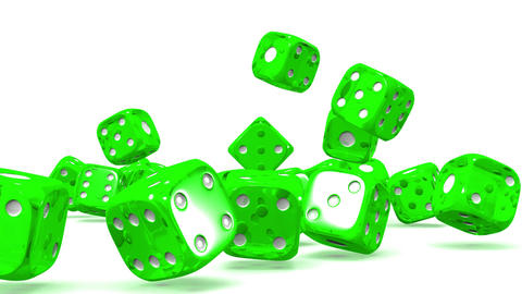 Green Dice On White Background Stock Video Footage