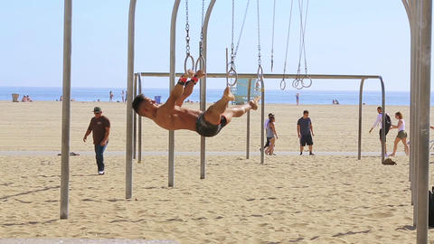 Santa Monica muscle beach rings Footage
