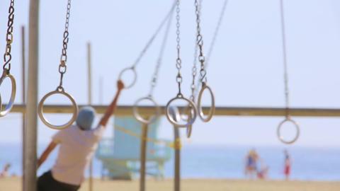 Santa Monica muscle beach rings Footage