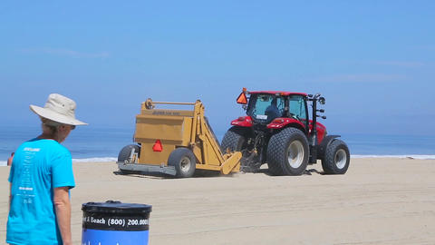 Garbage collection on the beach in California Footage