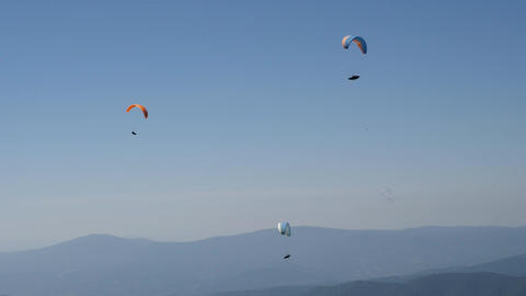 three paraglides flying in clear blue sky 画像