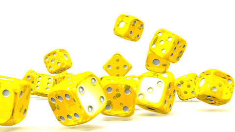 Yellow Dice On White Background Animation