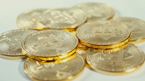 Crypto currency Gold Bitcoin - BTC - Bit Coin. Macro shots crypto currency Image