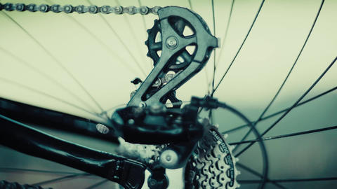 4K Close Up Of Bicycle Disc Brake And Wheel Spokes Footage