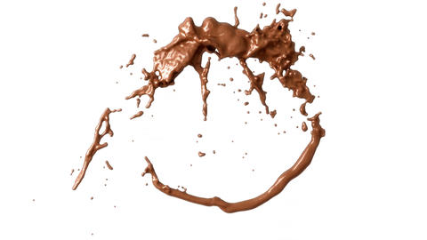 Hot chocolate or cocoa splashes with slow motion. 3d render. 3d animation Animation