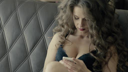 Sexy Woman Texting On Bed In Black Body Slow Motion Footage