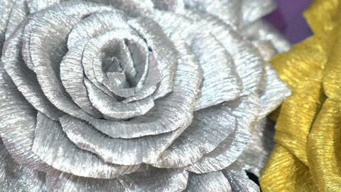 Close Up Of Artificial Roses Slow Motion Footage