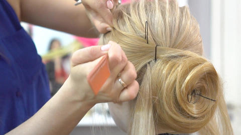 Making Wedding Hairstyle At Salon Footage