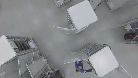 Flycam View Employees Equip Switchboards Indoors in Gas... Stock Video Footage