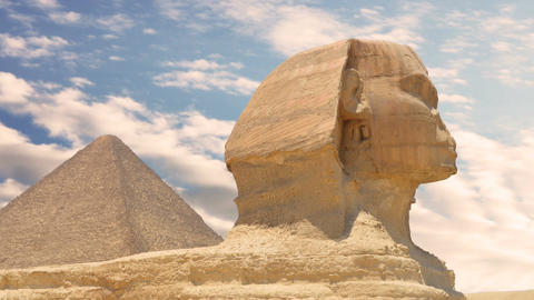 Timelapse. Clouds over the pyramid of Cheops and Sphinx. Giza Egypt Image
