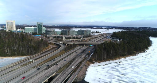 Traffic on Route 51, Cinema 4k aerial flight of route 51 the länsi-väylä full of Live Action