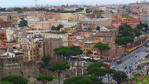 Panoramic view on the rooftops of Rome, Italy. Rome skyline. Panning shot Footage