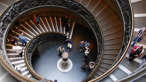 VATICAN CITY, VATICAN - March 26, 2017: Spiral Stairs in Vatican Museum Footage