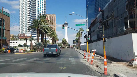 Driving towards the stratosphere tower, on bulevard s road, in Las Vegas, Nevada Live Action
