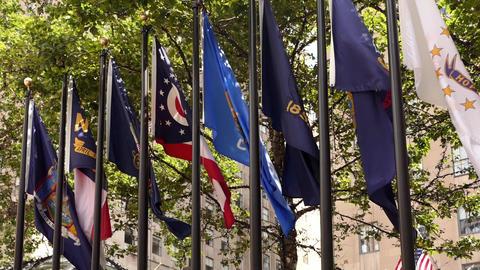 New York Rockefeller Plaza Flags VII Live Action