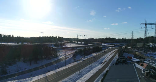 Kehä 3 and e18 crossing, Cinema 4k aerial view on route keha 3 and e18 crossing, Live Action
