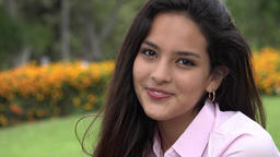 Pretty Hispanic Female Teen Smiling Live Action