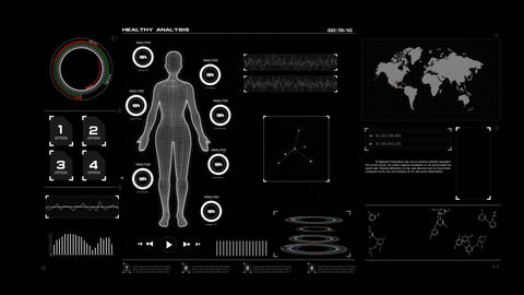 4K Animation HUD head up display interface with women wire frame body for heath Filmmaterial