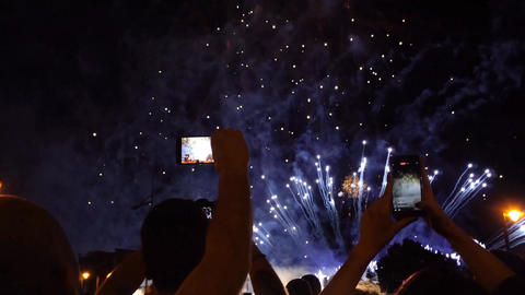 Recording Fireworks On Tow Phones Footage