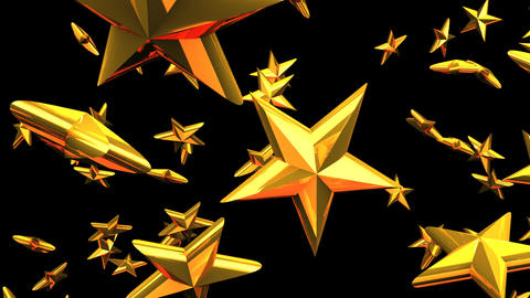 Gold Stars On Black Background Animation