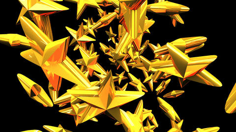 Gold Stars On Black Background Stock Video Footage