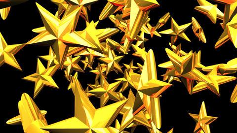 Gold Stars On Black Background Animation