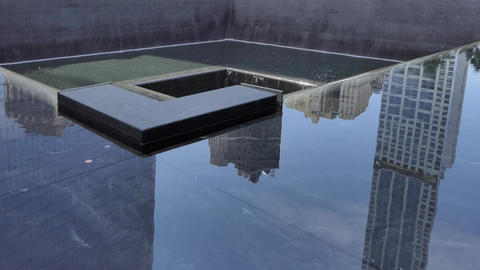 New York September 11, 2001 Memorial Waterfall - VI Footage