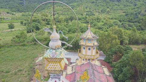 Drone Shows Caodaism Temple Decorated in Oriental Style Footage