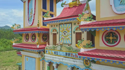 Caodaism Temple Colourful Facade in Tropical Countryside Live Action