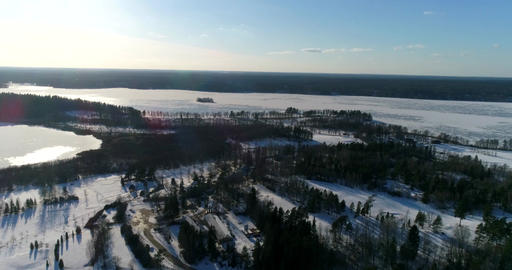 Lake bodom, Cinema 4k aerial flight above a golf course,and heading towards lake Footage