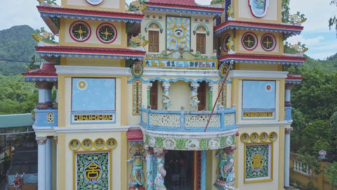 Close View Holy Temple Facade Decorated with Wall Paintings Footage