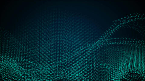 Abstract blue sci-fi dotted line waves video animation Animation