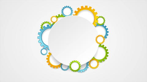 Abstract tech colorful gears and blank circle video animation Animation