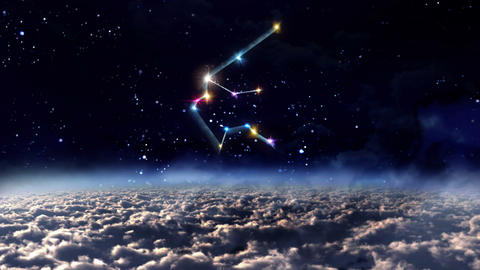 11 Aquarius horoscopes of zodiac sign space Animation