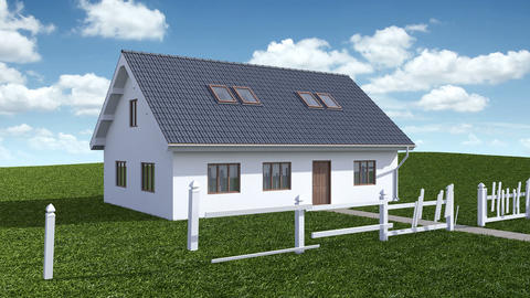 Construction of House with garden. Time-lapse 3d animation. Full HD Animation