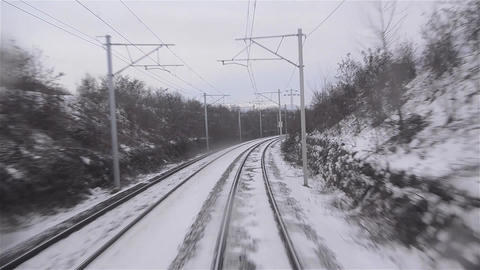 Winter footage through the window last wagon, with self that is lost in the hori Footage