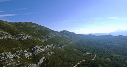 4K Aerial, Beautiful views over a mountain range in Spain Footage