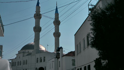 Turkey the Aegean Sea Bodrum 001 mosque and power lines Footage