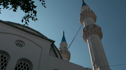 Turkey the Aegean Sea Bodrum 003 mosque and minarets Footage